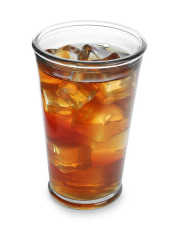 Glass of tasty iced tea on white background