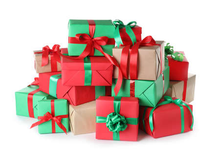 Different Christmas gift boxes on white background Foto de archivo - 130133979