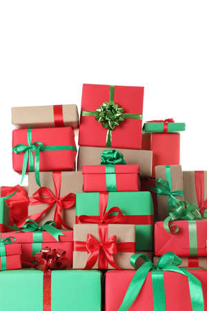 Many different Christmas gift boxes isolated on white Foto de archivo - 130134074