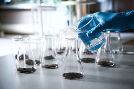 Scientist preparing soil extract at table, closeup. Laboratory research