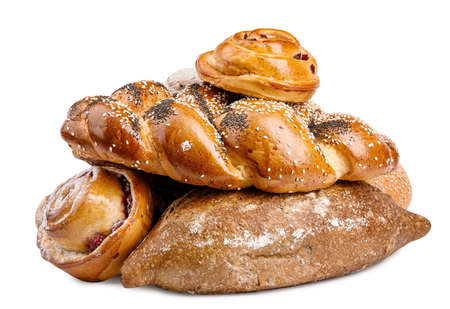 Fresh bread and pastries on white background