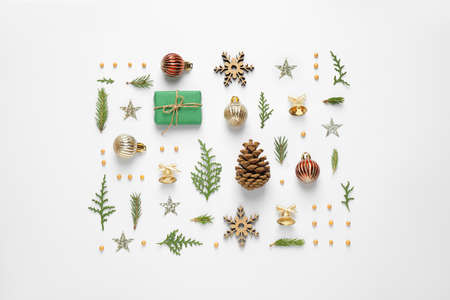 Flat lay composition with Christmas items on white background Stock fotó