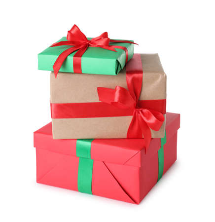 Stack of Christmas gift boxes on white background Stock Photo - 130134374