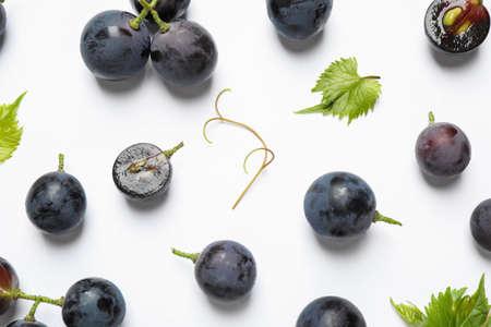 Fresh ripe juicy grapes on white background, top view Archivio Fotografico - 130134369