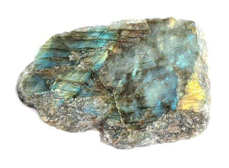 Beautiful shiny labradorite gemstone on white background 免版税图像 - 130269820