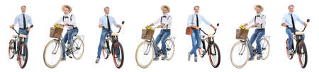 Collage of mature man with different bicycles on white background Banco de Imagens