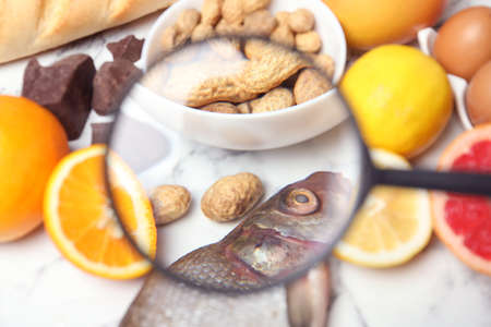 Different products with magnifier focused on fish and peanuts, closeup. Food allergy concept Stockfoto