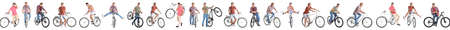 Collage of handsome young men with bicycles on white background. Banner design