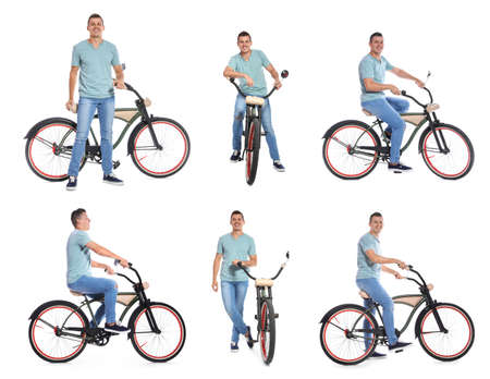 Collage of handsome man with bicycle on white background