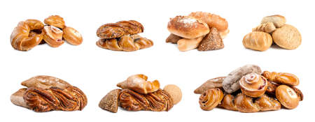 Set with different fresh loaves of bread and pastries on white background 版權商用圖片