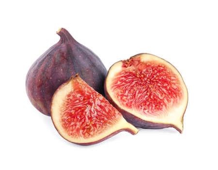 Leckere frische Feigenfrüchte auf weißem Hintergrund Standard-Bild