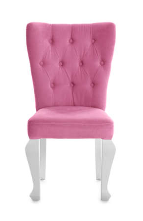 Stylish pink chair on white background. Element of interior design
