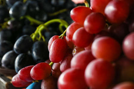 Fresh ripe juicy grapes as background, closeup view