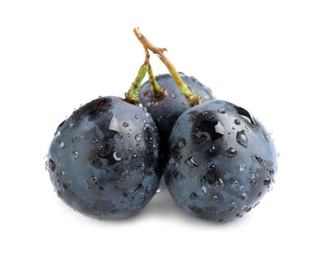 Fresh ripe juicy black grapes isolated on white