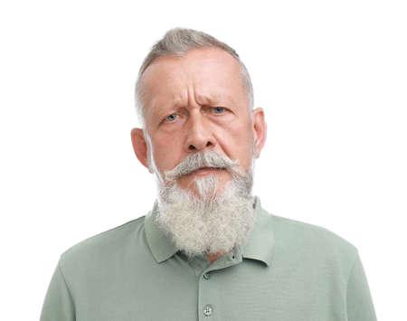 Portrait of handsome senior man on white background Banco de Imagens