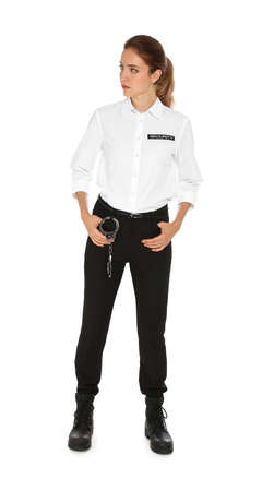 Female security guard in uniform on white background Banco de Imagens