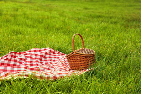 Picnic blanket and basket on grass in park Stock Photo
