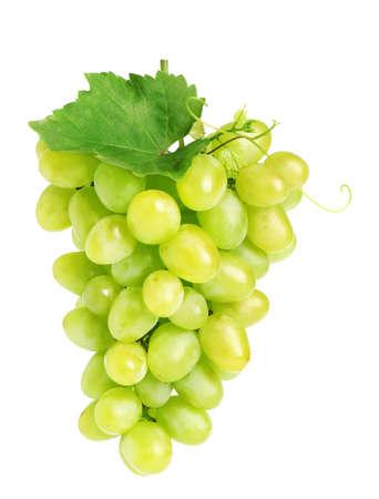 Racimo de uvas jugosas maduras frescas aislado en blanco