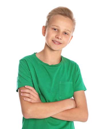 Portret van tienerjongen op witte achtergrond Stockfoto