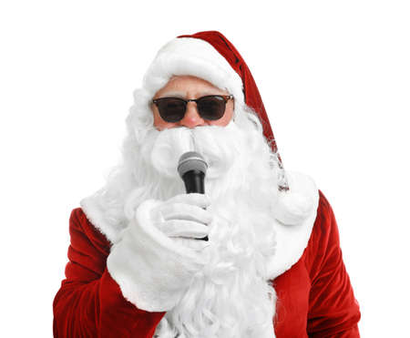 Santa Claus singing on white background. Christmas music