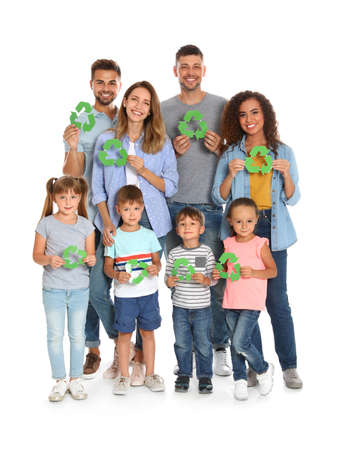 Group of people with recycling symbols on white background