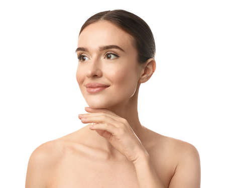 Beautiful woman with perfect smooth skin on white background Фото со стока