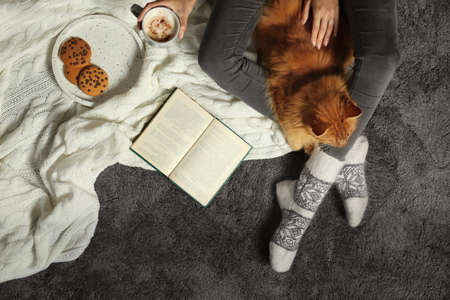 Woman with cute red cat and book on grey carpet, top view