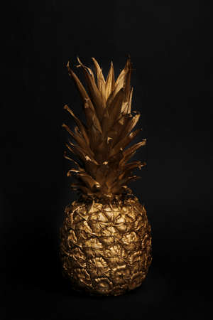 Gold painted fresh pineapple on black background Stok Fotoğraf