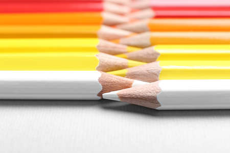 Set of colorful pencils on light background, closeup