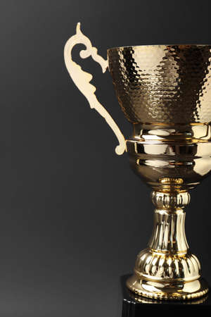 Shiny golden trophy cup on grey background