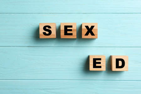 Wooden blocks with phrase SEX ED on light blue background, flat lay