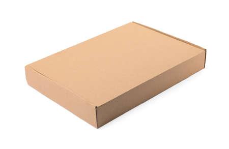 Zamknięty karton na białym tle. Makieta do projektowania Zdjęcie Seryjne