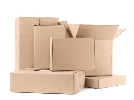 Pile of cardboard boxes on white background Reklamní fotografie