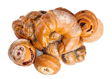 Different delicious fresh pastries on white background, top view 版權商用圖片