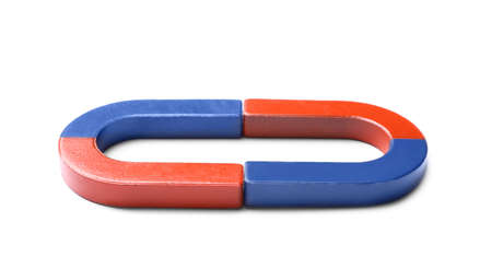 Red and blue horseshoe magnets on white background