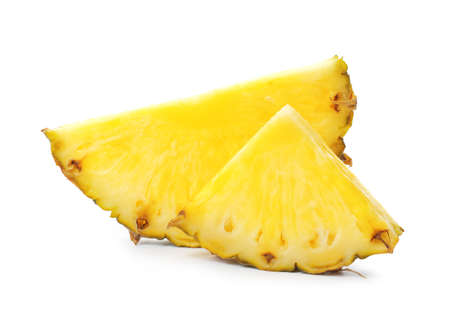 Slices of tasty juicy pineapple on white background