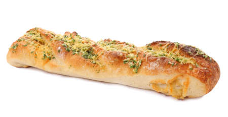 Tasty homemade garlic bread with cheese and herbs on white background