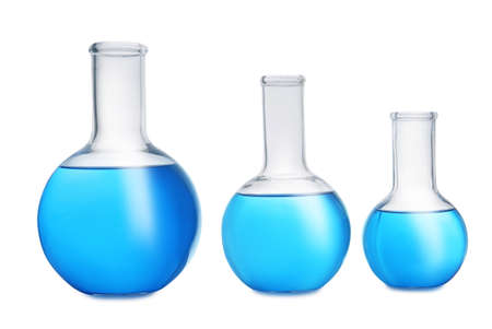 Florence flasks with blue liquid on white background. Laboratory glassware Stok Fotoğraf