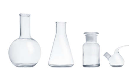 Set of empty laboratory glassware on white background Stock fotó