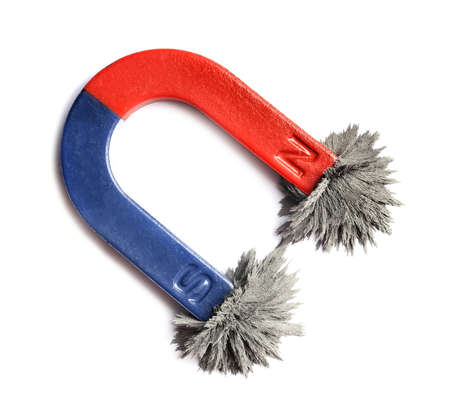 Red and blue horseshoe magnet with iron filings on white background, top view