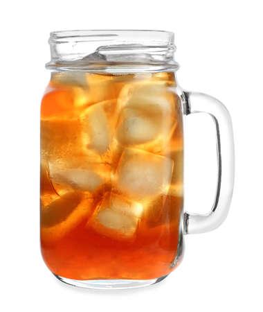 Mason jar of refreshing iced tea on white background Stock Photo