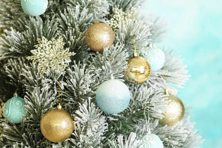Beautiful Christmas tree with beautiful festive decor, closeup