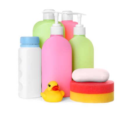 Set of baby accessories on white background Archivio Fotografico - 130743161