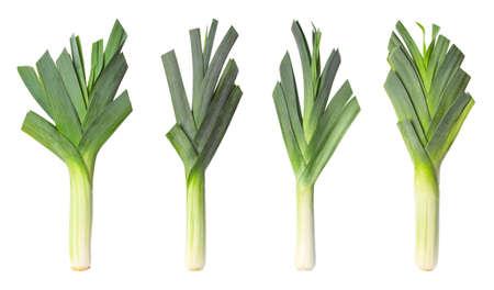 Set of fresh raw leeks on white background. Ripe onions