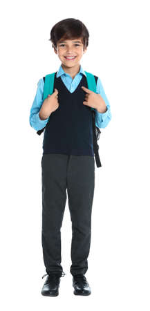 Happy boy in school uniform on white background Stock fotó
