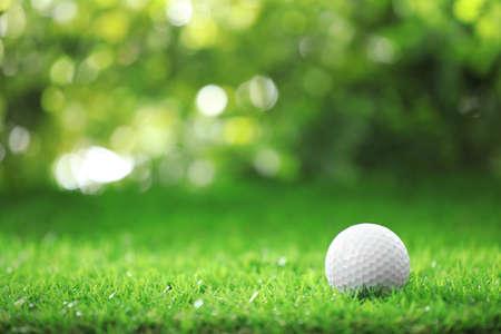 Golf ball on green grass against blurred background 版權商用圖片