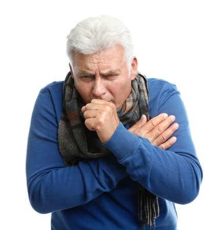 Mature man suffering from cold on white background 스톡 콘텐츠
