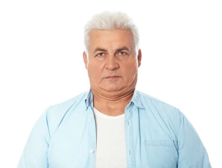 Mature man with double chin on white background Stok Fotoğraf