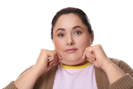 Woman with double chin on white background Foto de archivo