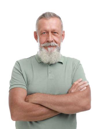 Portrait of handsome senior man on white background